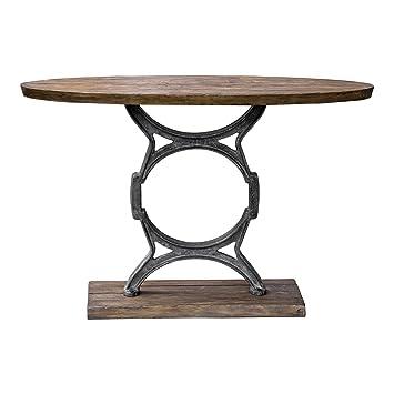 Amazon.com: Mesa de consola de madera Plank hierro fundido ...