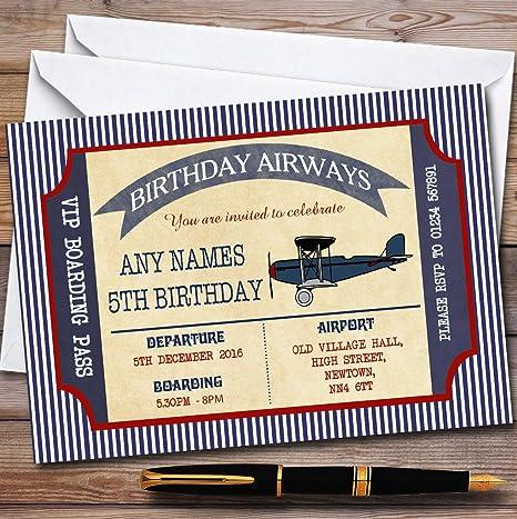 Amazon.com: Azul y rojo tarjeta de embarque avión fiesta de ...
