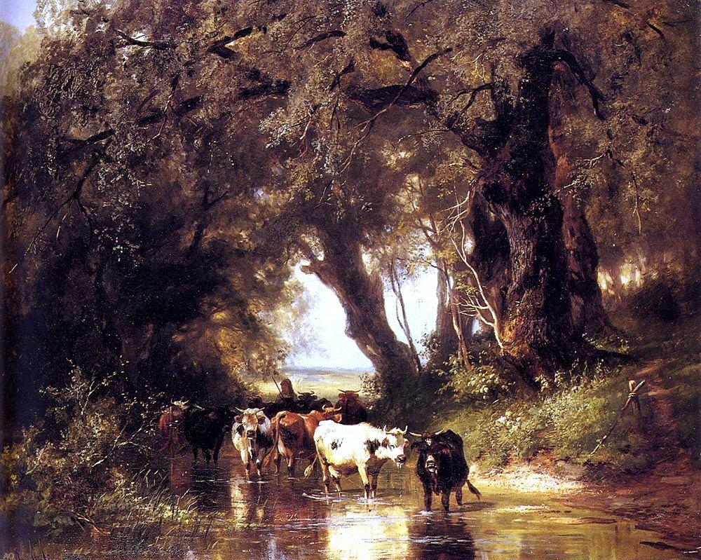 Christian Friedrich Mali Cattle Watering - 20'' x 25'' 100% Hand Painted Oil Painting Reproduction by Art Oyster