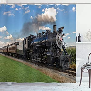 """Ambesonne Steam Engine Shower Curtain, Vintage Locomotive in Countryside Scenery Green Grass Puff Train Picture, Cloth Fabric Bathroom Decor Set with Hooks, 84"""" Long Extra, Blue Green"""