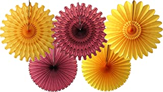product image for 5-Piece Tissue Paper Fans, Maroon Gold, 13-18 Inch