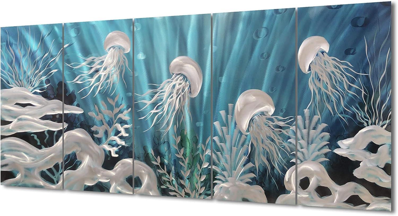 Yihui Arts Blue Deep Sea Metal Wall Art, Large Jellyfish Metal Artwork in Modern Ocean Design, 3D Wall Art for Modern and Contemporary Decor, 5-Panels, Metal Wall Decor (24x64IN)