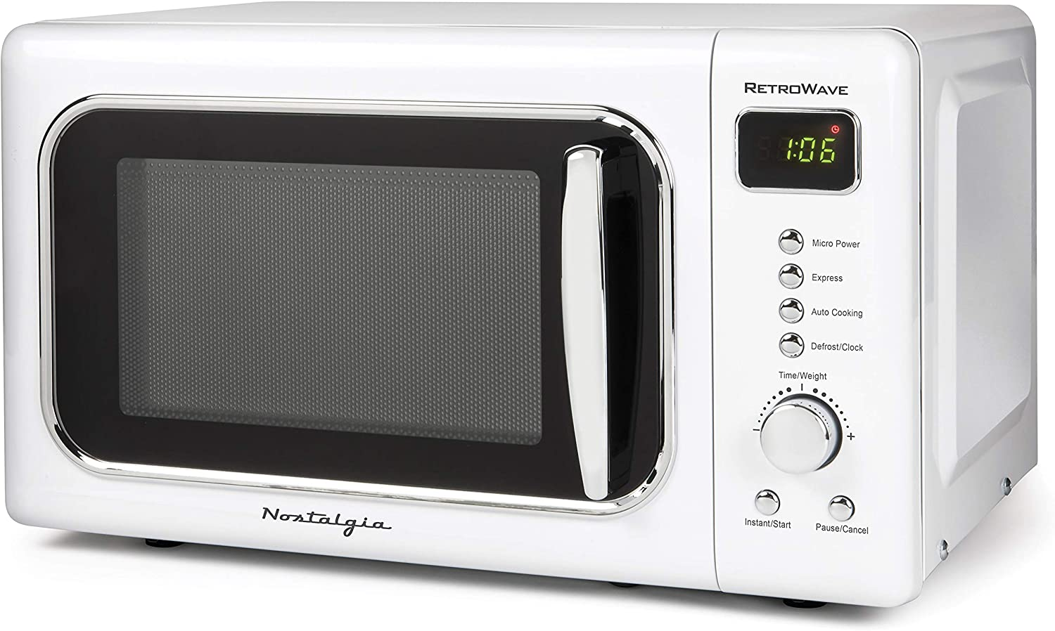 Nostalgia CLMO7WH Classic Retro 0.7 Cu. Ft. 700-Watt Countertop Microwave Oven With LED Display, 5 Power Levels, 8 Cook Settings, White