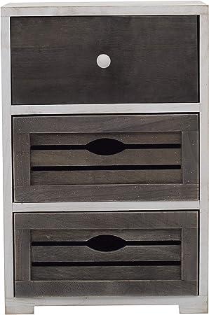 HxLxP RE4601 Legno Paulownia Rebecca Mobili Comodino 3 cassetti - Art Misure: 52,5 x 35 x 24 cm cassettiera Piccola Bianco Grigio Design Shabby Vintage Camera Bagno
