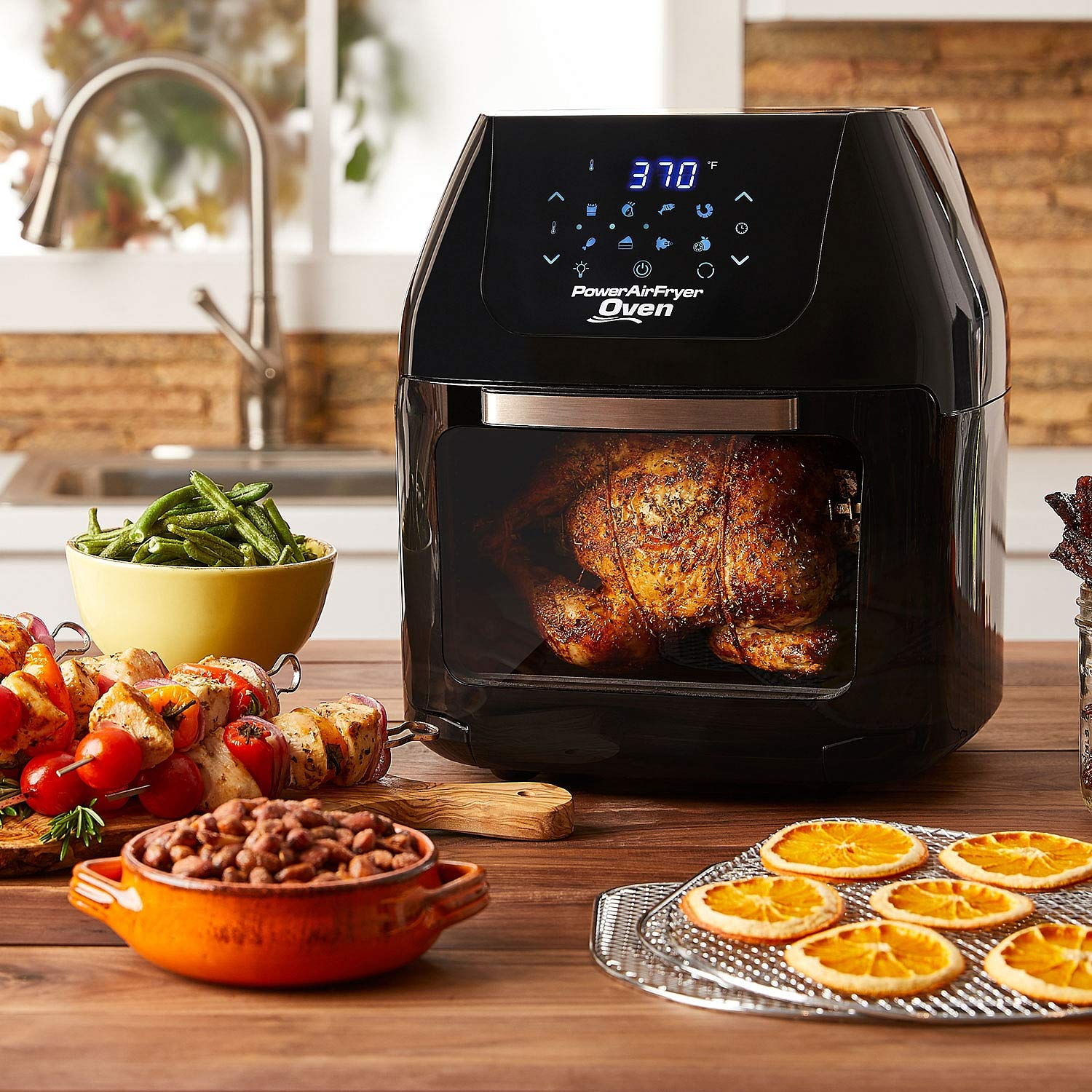 6 QT Power Air Fryer Oven With 7 in 1 Cooking Features with Professional Dehydrator and Rotisserie
