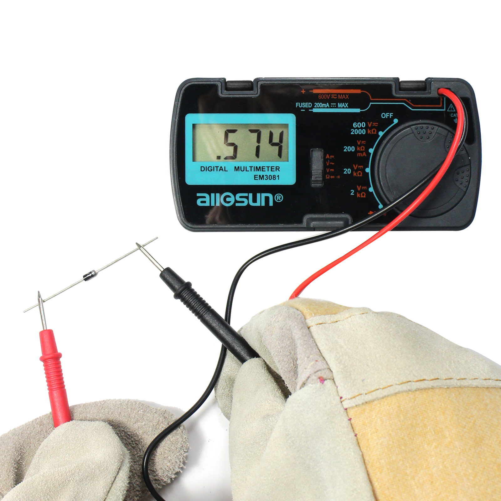 Current Range Multimeter with Rubber Case Test Leads and Stand DC Volt Pyle PDMT38 Digital LCD AC Resistance