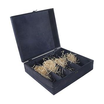 Caja de madera azul para 4 botellas de vino, bisagras y cierre de metal, caja de almacenamiento, caja de regalo, 39 x 35 x 11 cm: Amazon.es: Hogar