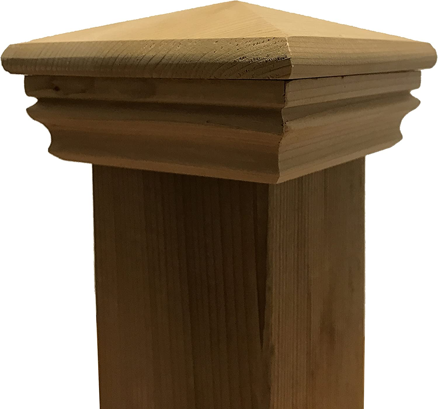 Cedar Pyramid Wood Post Cap for 3.5 x 3.5 Fence and Deck Posts