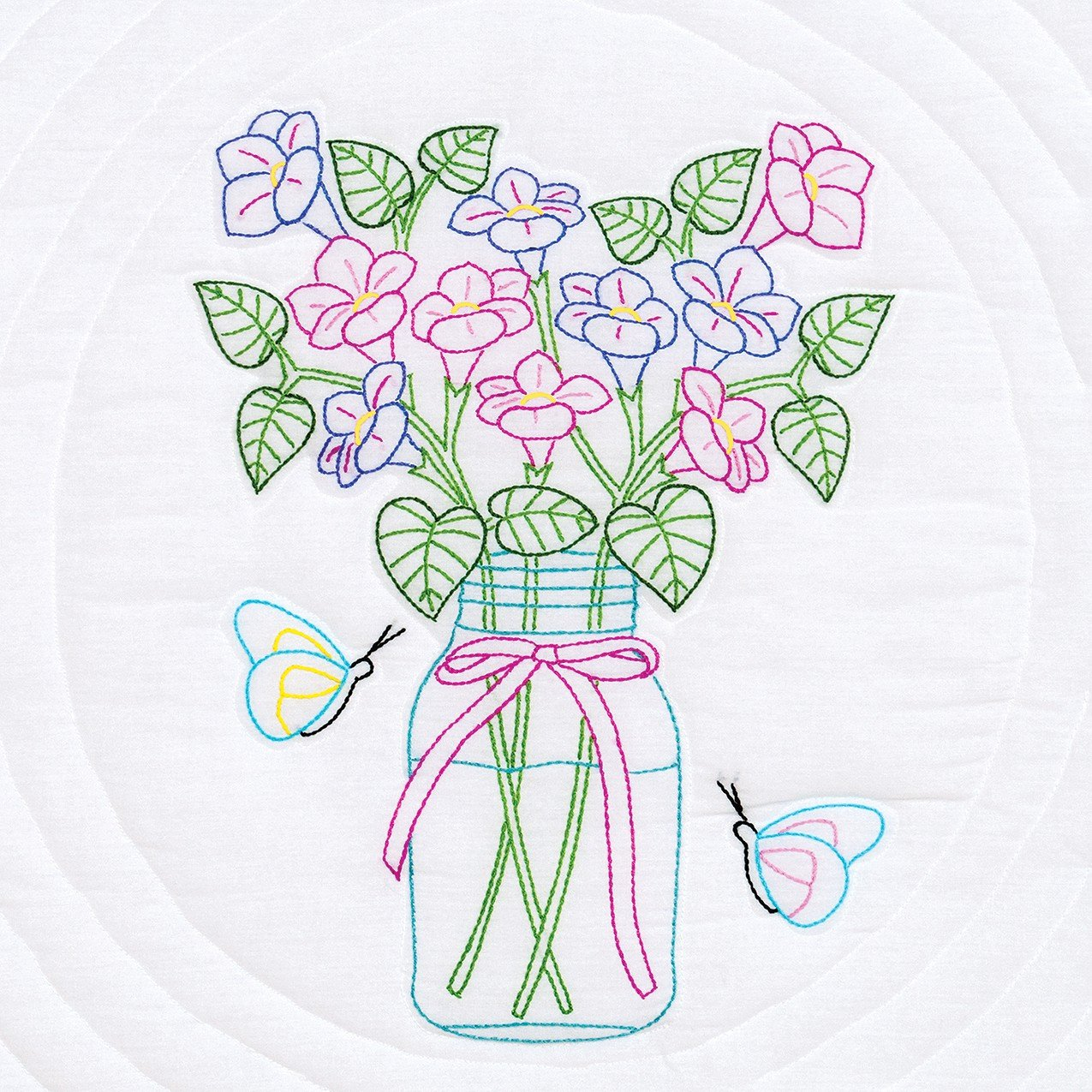Jack Dempsey Stamped White Quilt Blocks, 18 by 18-Inch, Mason Jar and Flowers, 6-Pack 732 585