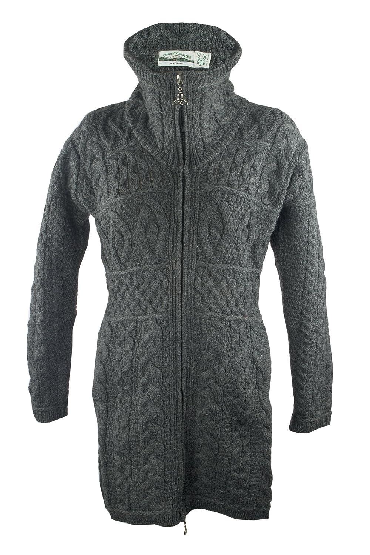 Charcoal West End 100% Irish Merino Wool Double Collar Aran Knit Coat Knitwear