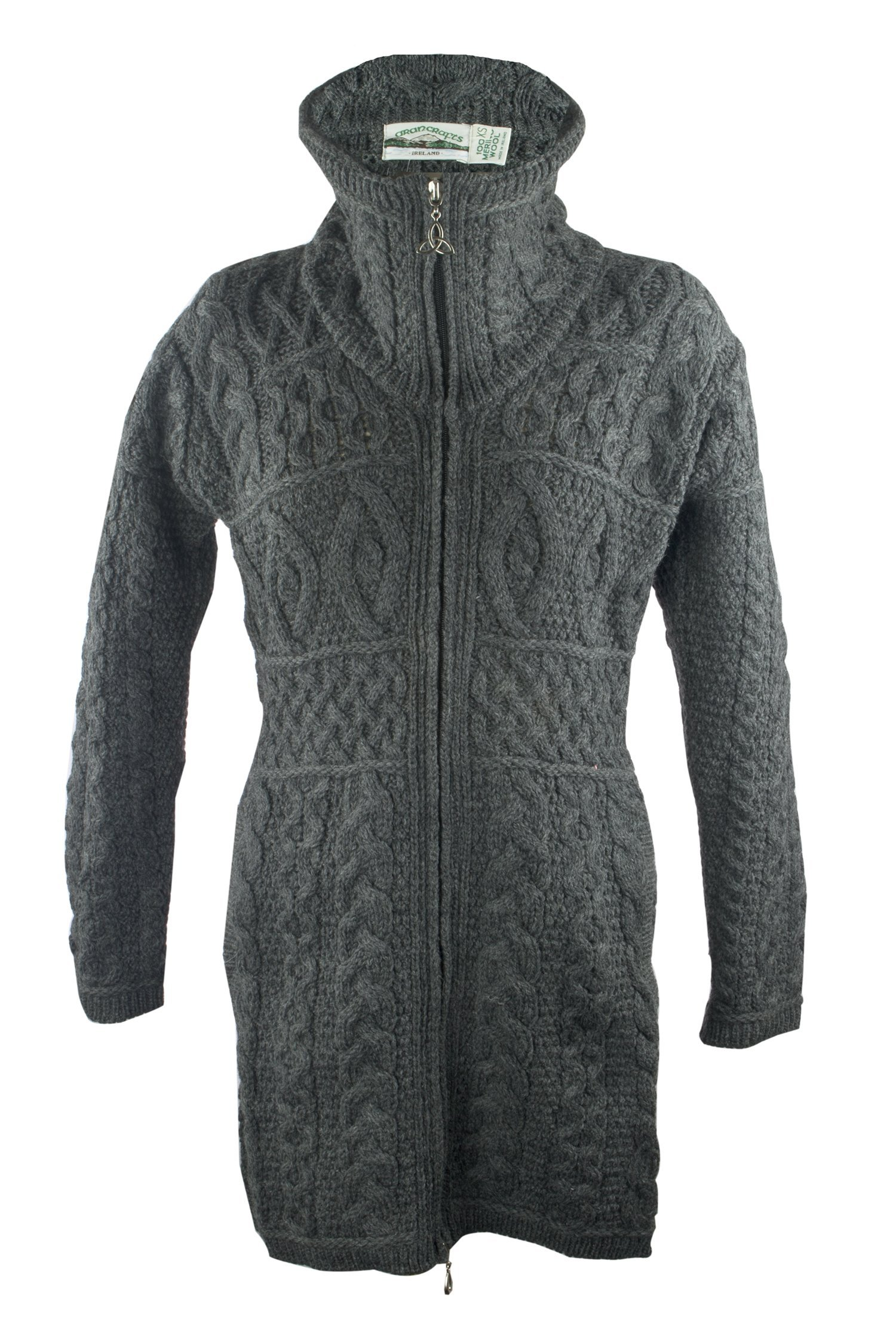 100% Irish Merino Wool Double Collar Aran Knit Coat, Charcoal, Extra Large
