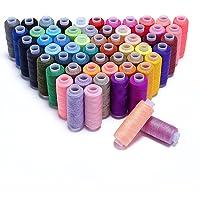 Hamhsin - Assortiment de 60 bobines de fils à coudre en polyester, de plusieurs couleurs, de 228,6 m chacune, de tout usage pour la couture à la main et à la machine