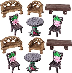 12 Pieces Fairy Garden Furniture Ornaments Miniature Table and Chairs Set Fairy Village Micro Resin Bench Chair for Dollhouse Accessories Home Micro Landscape Decoration (Cute Style)