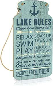 Putuo Decor Lake House Decor, Country Wall Decor for Home, Farmhouse, Living Room, Cafes Pubs, Kitchen, 8.3x4.5 Inches Mason Jar Wood Hanging Plaque Sign - Lake Rules Make New Memories