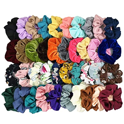 Homerove 40pcs Scrunchies - 10 Vintage Velvet & 10 Solid Colors Chiffon & 10 Flowered Chiffon & 10 Satin Elastic Hair Bands, Scrunchy Hair Ties Ropes for Women or Ladies or Girls Hair Accessories best gifts for vsco girls