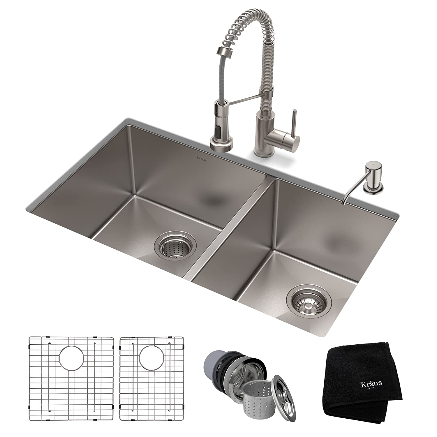 KRAUS KHU103-33-1610-53SS Set with Standart PRO Sink and Bolden Commercial Pull Faucet in Stainless Steel Kitchen Sink & Faucet Combo 33 Inch