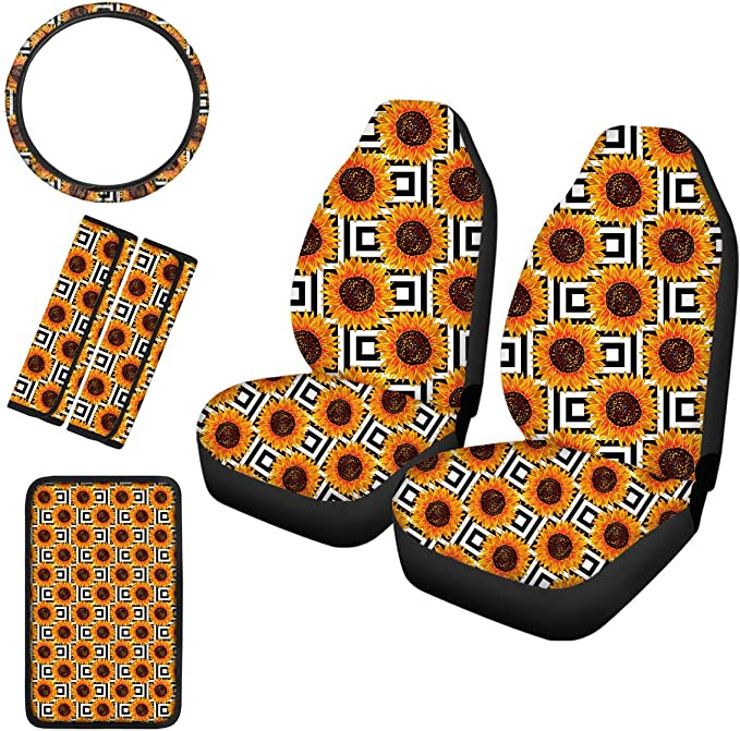 Cozeyat Sunflower Universal Fits Car Steering Wheel Cover and 2 Seat Belt Shoulder Strap Pads Car Interior Accessory