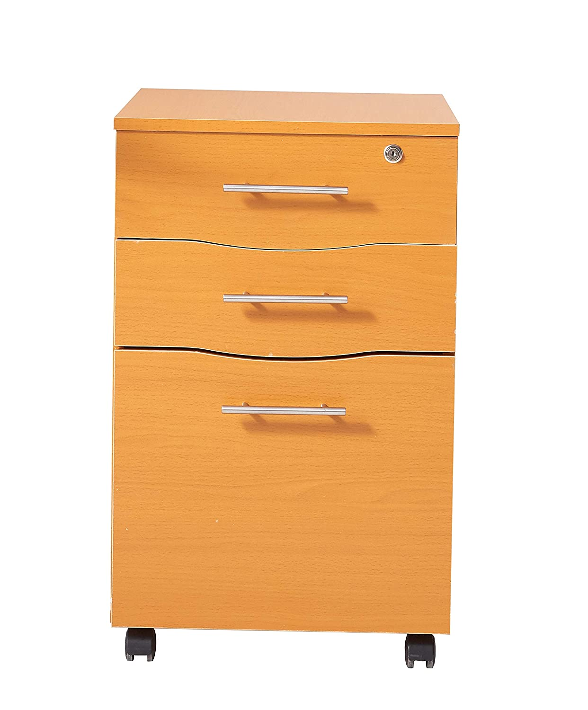 Cajonera de madera de haya con 3 cajones para debajo del escritorio, 40 x 44 x 65 cm