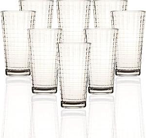 Circleware Matrix Set of 8 Heavy Base Highball Tumbler Drinking Glasses, 15.75 oz, Beverage Ice Tea Cups for Water, Juice, Milk, Beer, Farmhouse Decor