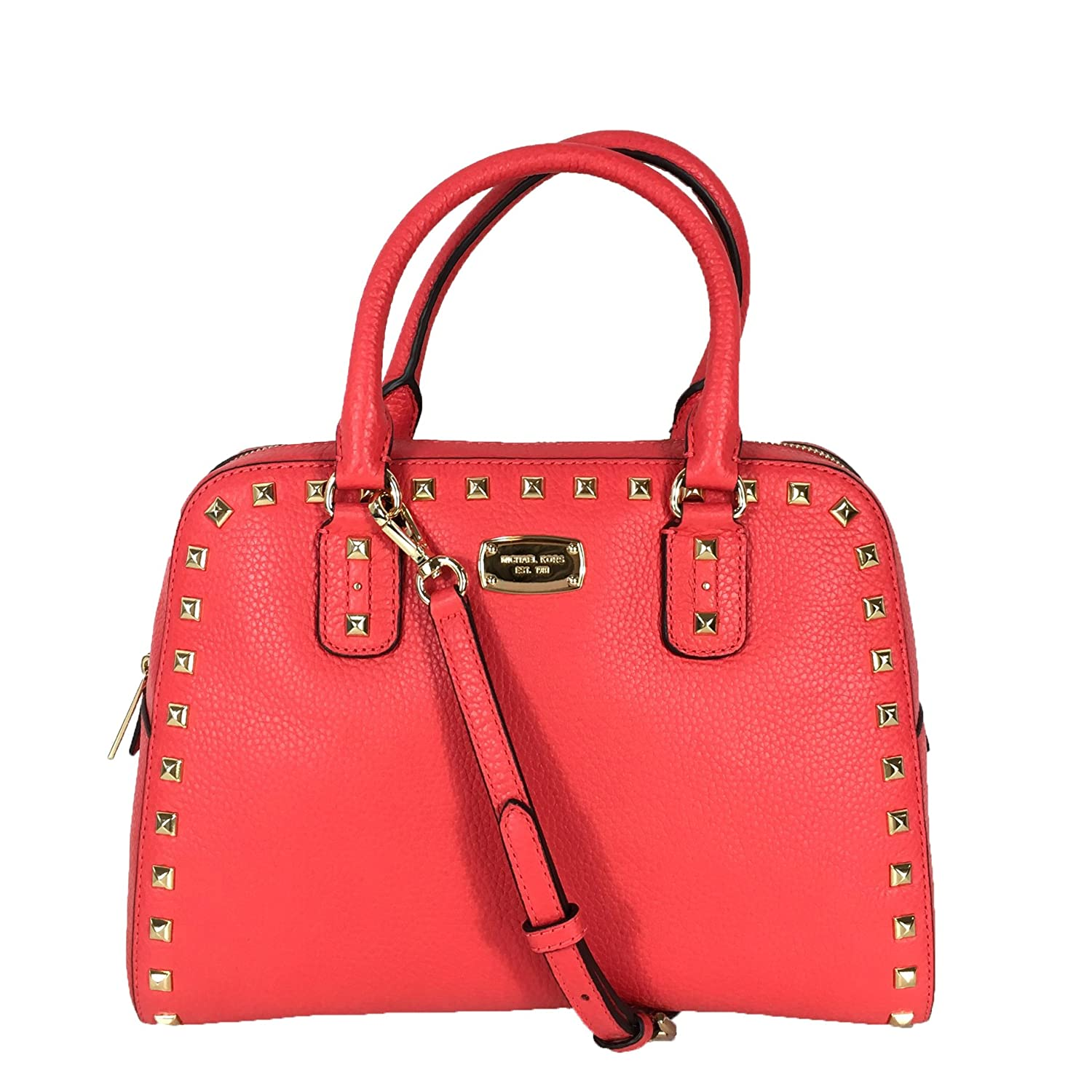 f60626333dac Michael Kors Sandrine Stud Leather Medium Satchel, Coral Reef: Handbags:  Amazon.com