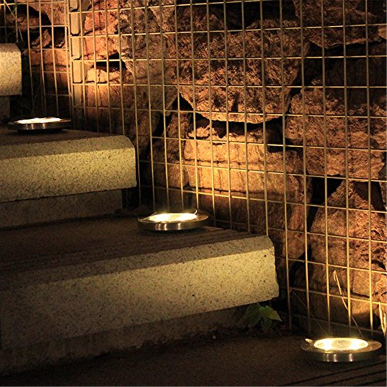 Solar Ground Lights for Garden 4 Pack Led Solar Powered Deck Lights Lantern for Yard Lawn Pathway Floor Decking
