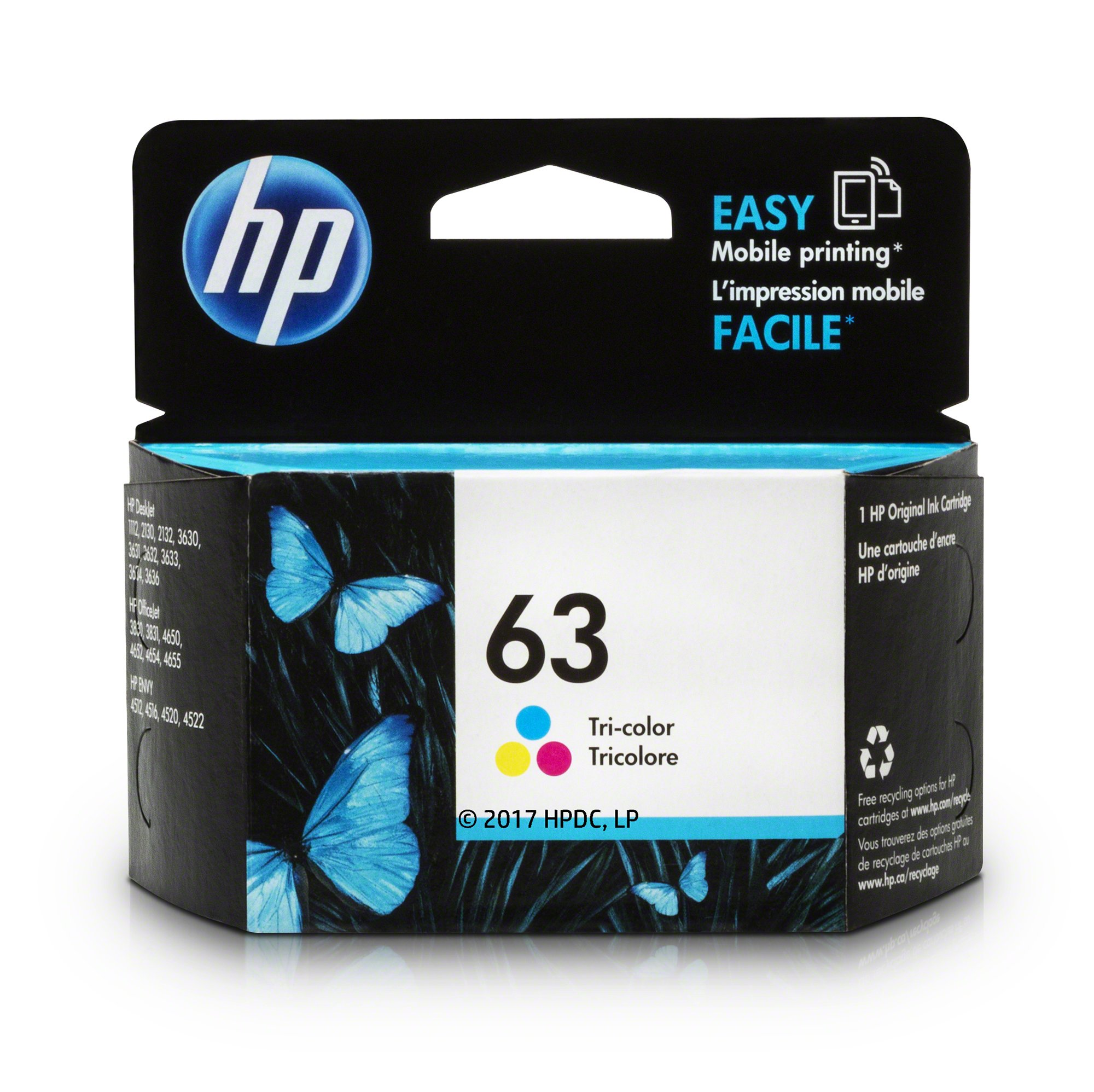HP 63 Tri-color Original Ink Cartridge (F6U61AN) for HP Deskjet 1112 2130 2132 3630 3632 3633 3634 3636 3637 HP ENVY 4512 4513 4520 4523 4524 HP Officejet 3830 3831 3833 4650 4652 4654 4655
