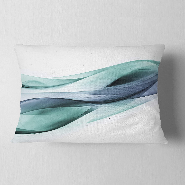 Designart CU7919-12-20 Fractal Lines Grey Blue' Abstract Lumbar Cushion Cover for Living Room, Sofa Throw Pillow 12' x 20'