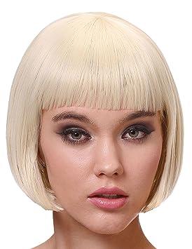 Perruque luxe blonde carré court avec frange