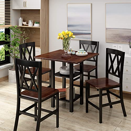 Merax 5-Piece Dining Table Set Wooden Kitchen Table Set