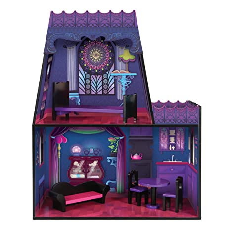 Maxim Spiderweb Villa Dollhouse. Furnished Halloween Mansion U0026 Wood  Furniture Set