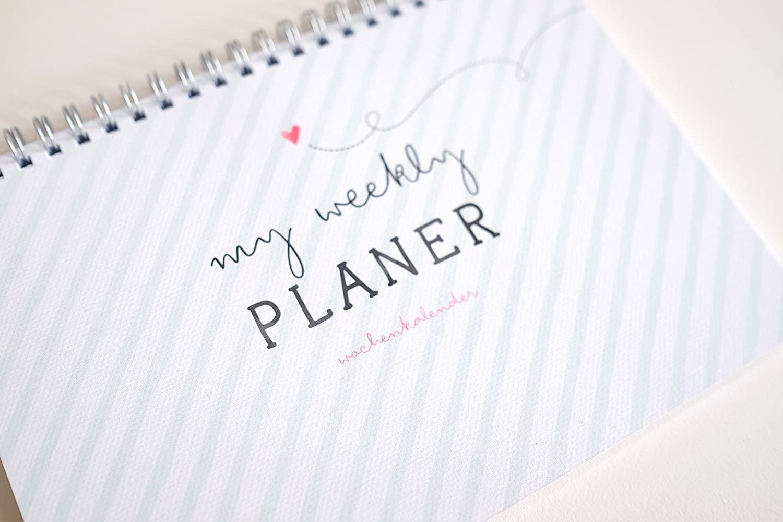 My Weekly Agenda Vert Bague Bloc A5/Semaine Calendrier Bloc Planer