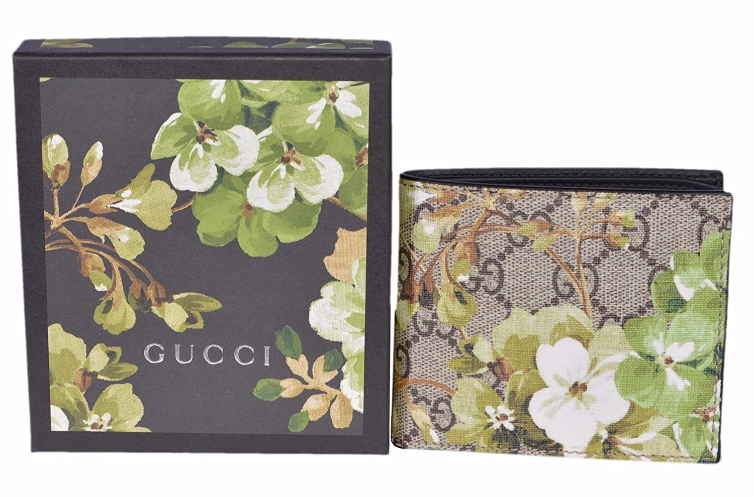 bf1cb580876 Amazon.com  Gucci Men s GG Supreme Coated Canvas Bifold Wallet (Blooms)   Clothing