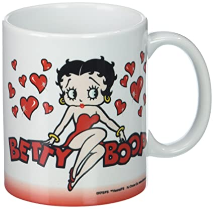 Amazon.com: Betty Boop Blanco Carácter Amor y corazones Taza ...