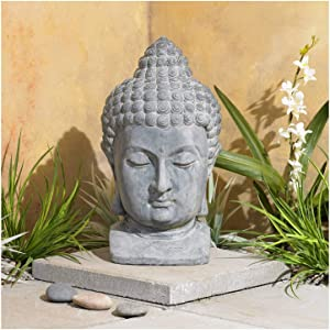 "John Timberland Meditating Buddha Head 18 1/2"" High Outdoor Statue"
