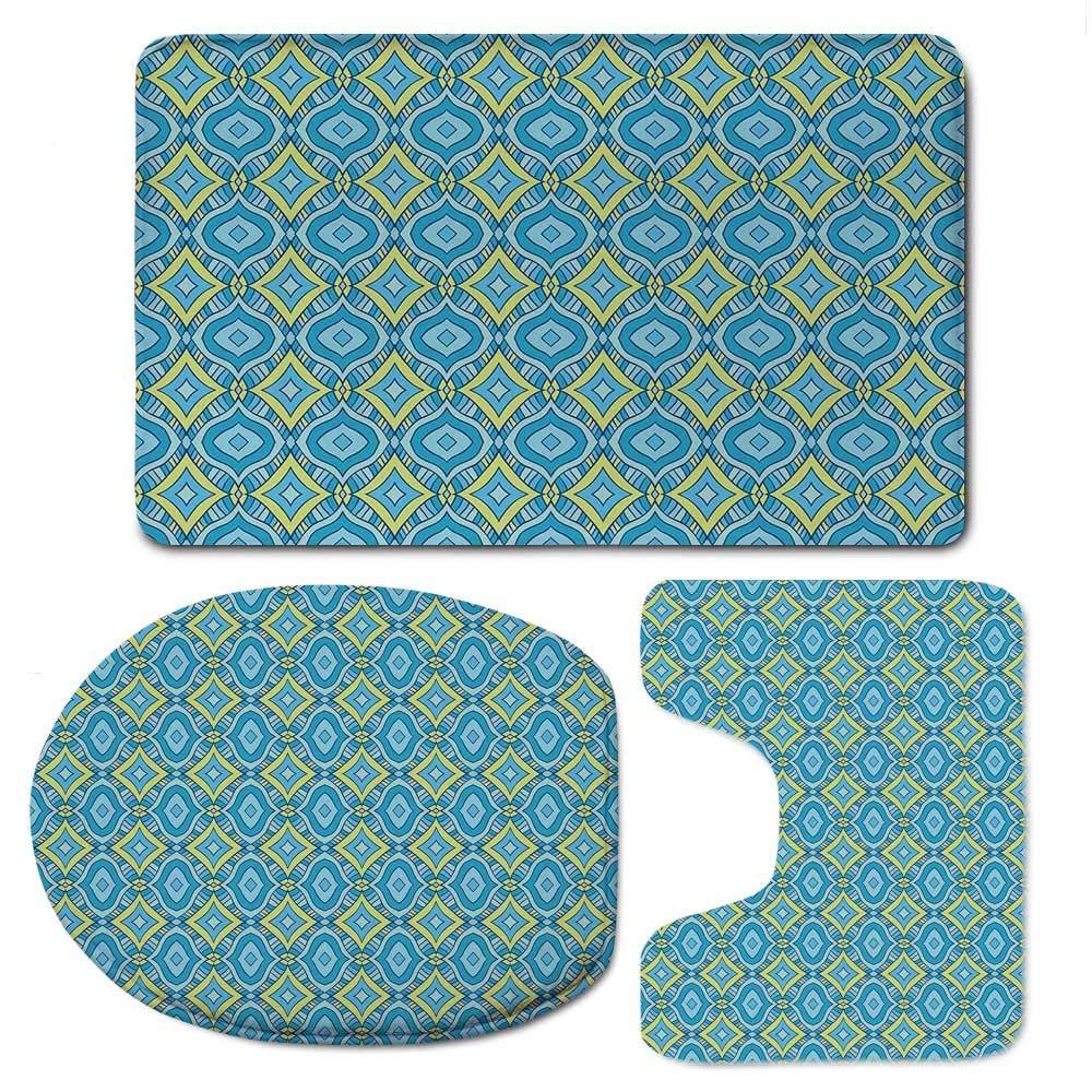 YOLIYANA Yellow and Blue Durable Bathroom 3 Piece Mat Set,Hand Drawn Abstract Ornament Rhombus Shapes Artistic Mosaic Vintage Decorative for Bathroom,F:20'' W x31 H,O:14'' Wx18 H,U:20'' Wx16 H