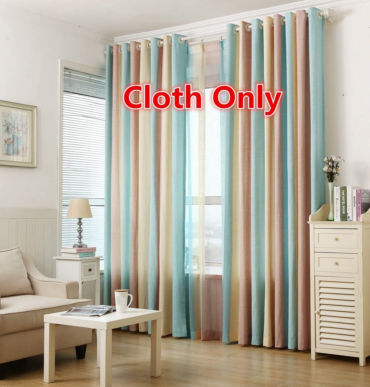 WPKIRA Window Treatment Sets One Pair Grommet Top Rainbow Vertical Stripes Cotton Linen Semi-Blackout Window Curtain Drapes Panel for Living Room Colorful 2 Panels Width 52 Inch by Length 96 Inch