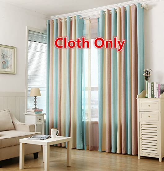 WPKIRA Window Treatment Sets One Pair Grommet Top Rainbow Vertical Stripes Cotton Linen Semi-Blackout Window Curtain Drapes Panel