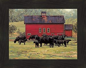"""by The Red Barn by Bonnie Mohr 16x20 Black Angus Cows Calf Cattle Farm Art Print Wall Décor Framed Picture (2"""" Espresso)"""