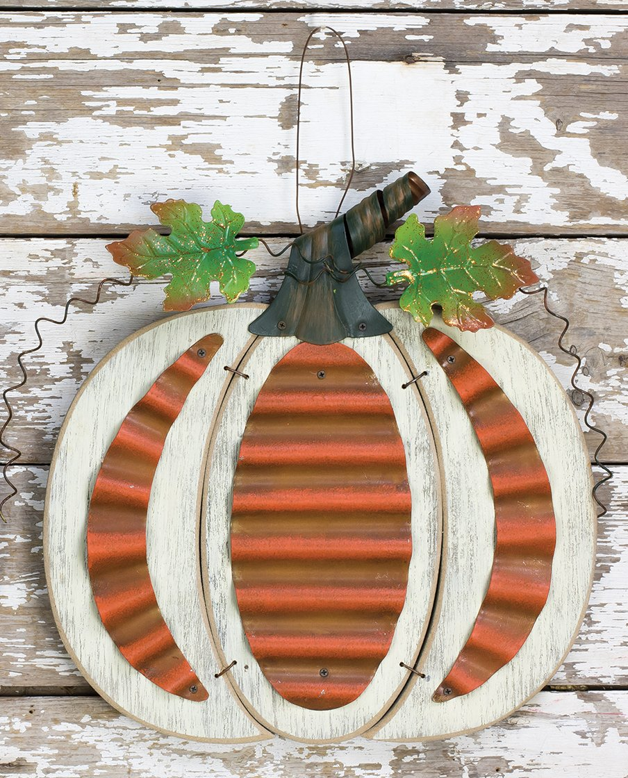 One Holiday Lane Rustic Wood and Metal Harvest Pumpkin Hanging Autumn Decoration with Metal Leaves and Stem White