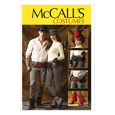 Steampunk Sewing Patterns- Dresses, Coats, Plus Sizes, Men's Patterns McCall Pattern Company M6975 Spats/Gaitors Fingerless Gloves Hats and Belts One Size Only $8.49 AT vintagedancer.com