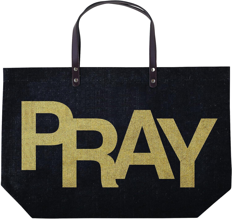 Pray Inspirational Gold Black 22 x 15 Inch Large Jute Tote Bag