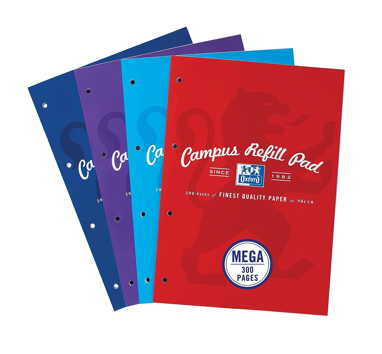 Oxford Campus A4300páginas bloc de recambio–colores surtidos, 3unidades 400033050