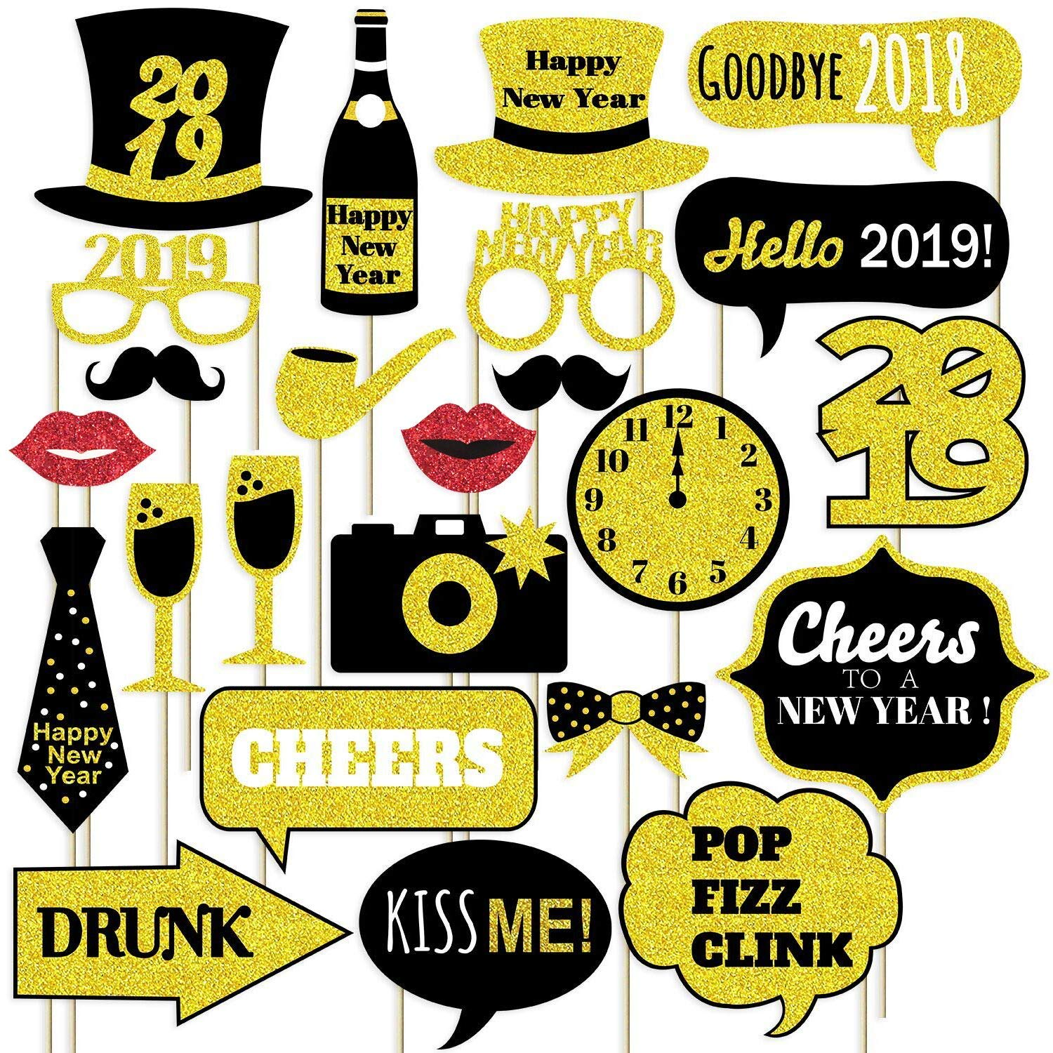 Gold Glitter Happy New Year 2019 Photo Booth Props NO DIY Needed Large Size New Years Eve Party Supplies 2019