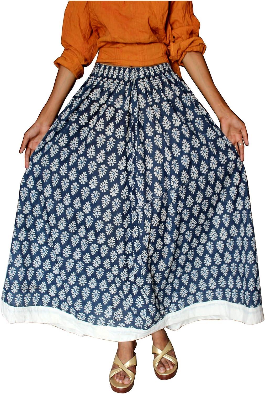 Lakkar Haveli - Falda Larga para Mujer (algodón, tamaño Grande), Color Azul: Amazon.es: Ropa y accesorios