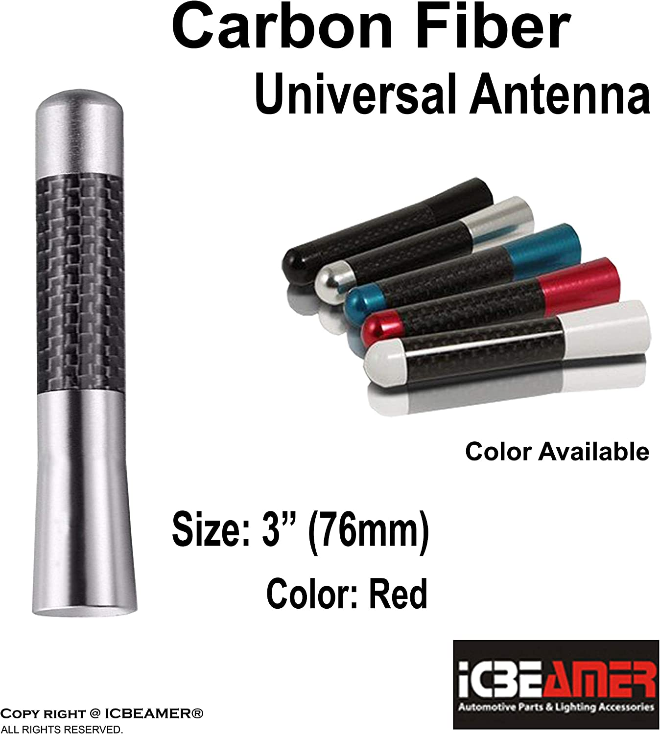 ICBEAMER 3 76 mm Aluminum Red w//Carbon Fiber Universal AM//FM Radio Antenna Screw-in Stubby Aerial Replacement