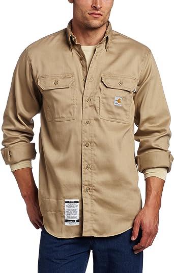 Carhartt - Camisa de sarga ligera resistente al fuego para hombre