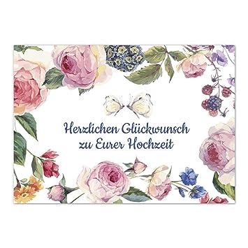 Gluckwunschkarte Zur Hochzeit Motiv Vintage Blumen Und