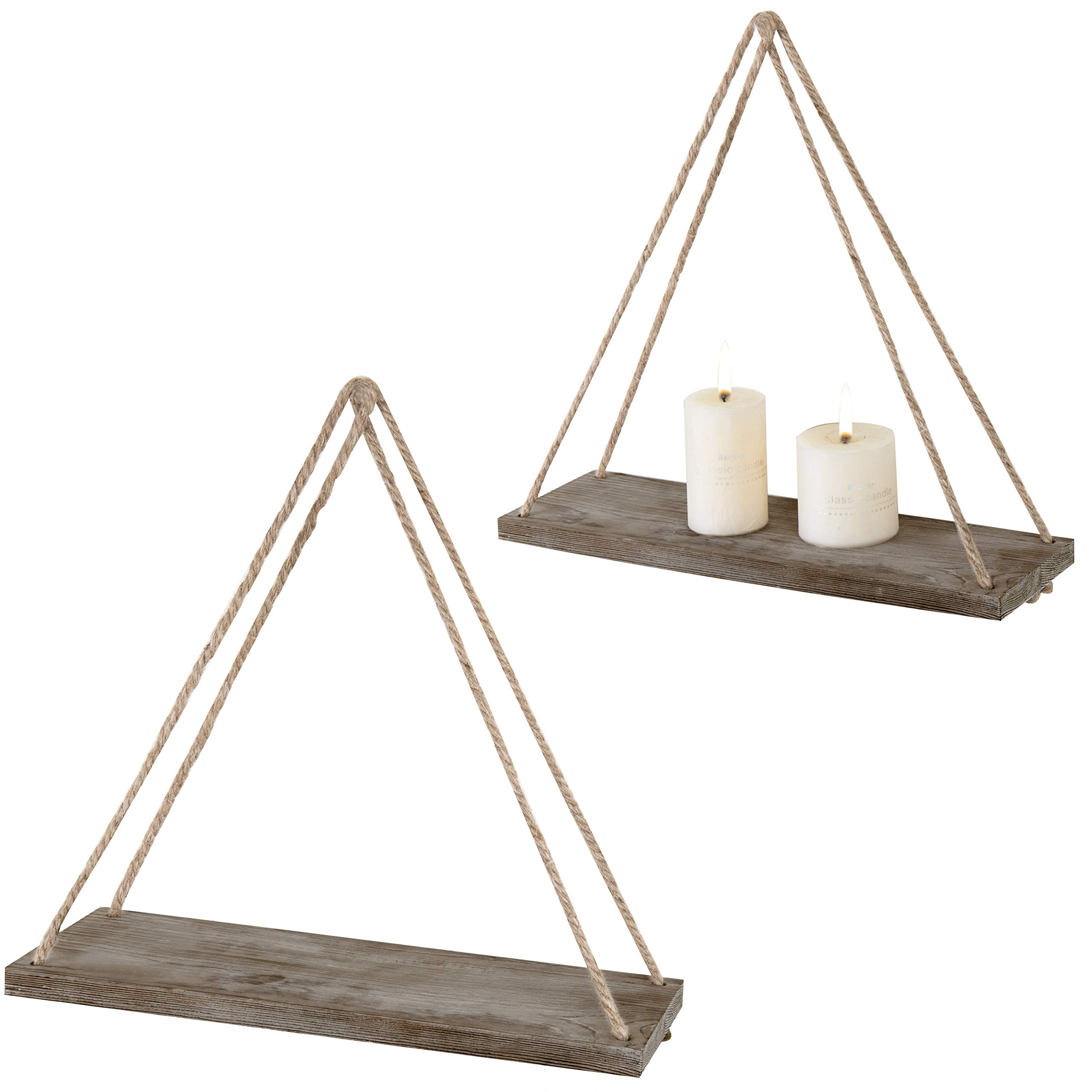MyGift 17-inch Rustic Whitewashed Brown Wood Hanging Rope Swing Shelves, Set of 2