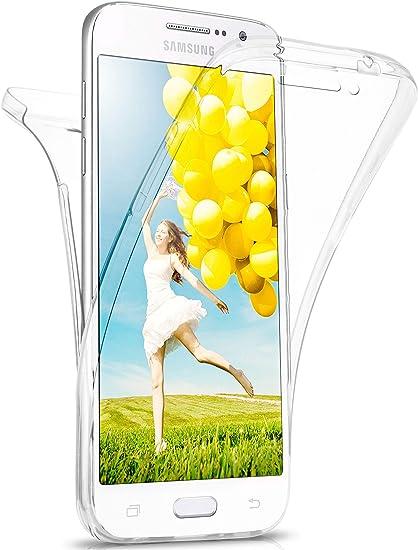 MoEx Coque intégrale en Silicone Compatible avec Samsung Galaxy Grand Prime | 360° - Transparent, Transparent