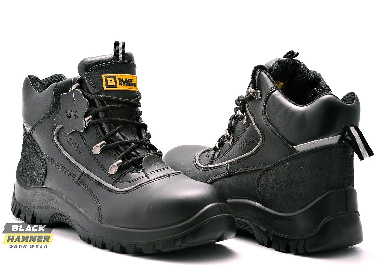 Black Hammer Botas de Seguridad Laboral de Piel Resistentes Al Agua Zapatos de Seguridad Laboral Puntera de ACERO S3 1007 Piel Botas Tobillo (39 EU/5 UK, Negro)